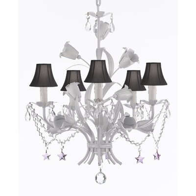 Tobias 5-Light Shaded Chandelier with Floral Metal Base