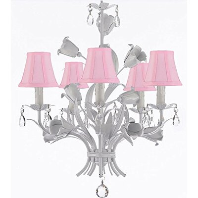 Tobias 5-Light Shaded Floral Crystal Chandelier
