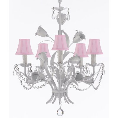Tobias 5-Light Shaded Wrought Iron Chandelier with Chain