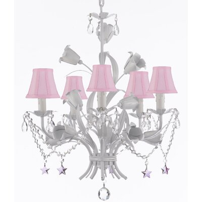 Tobias 5-Light Shaded Chandelier with Floral Wrought Iron Base