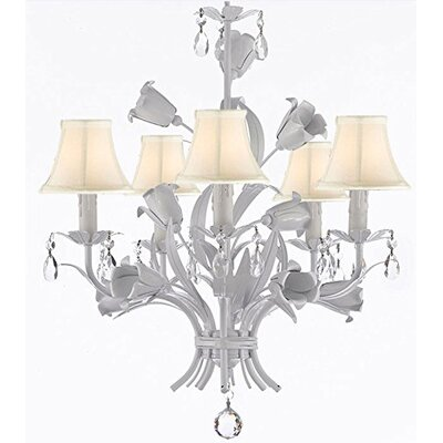 Tobias 5-Light Shaded Floral Crystal Chandelier with Chain