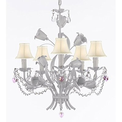 Tobias 5-Light Shaded Crystal Chandelier with Chain