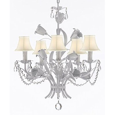 Tobias 5-Light Shaded Floral Iron Chandelier