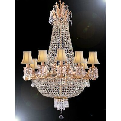 Montana 15-Light Crystal Chandelier Shade Color: White