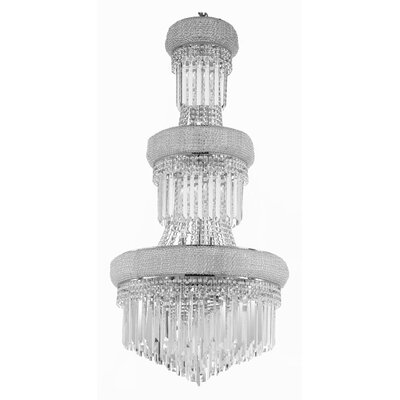 Montana 24-Light Crystal Chandelier Finish: Silver