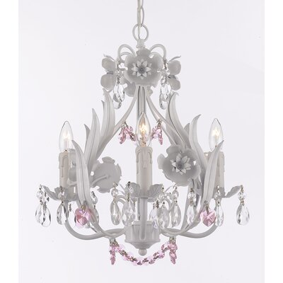 Tobias 4-Light Crystal Hearts and Strands Chandelier