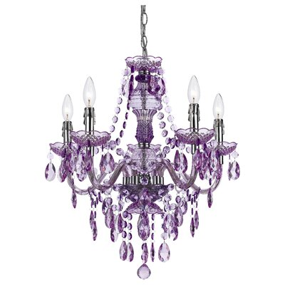 Alisha 5-Light Crystal Chandelier Color: Grape