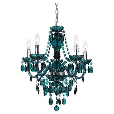 Alisha 5-Light Crystal Chandelier Color: Green