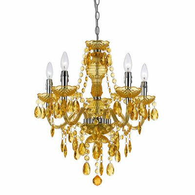 Alisha 5-Light Crystal Chandelier Color: Gold