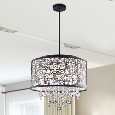 Aikin 4-Light LED Crystal Chandelier Finish: Brownish Black