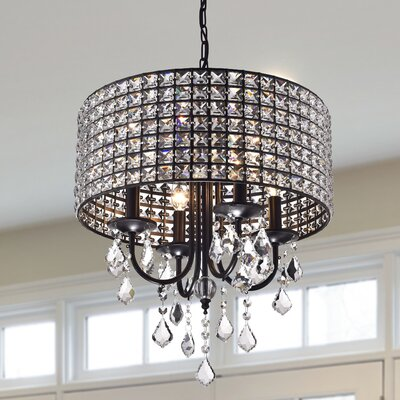 Albano 4-Light Crystal Chandelier Finish: Brownish Black