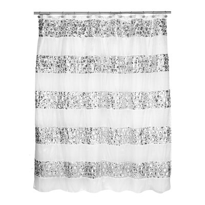 Rivet Striped Shower Curtain Color: White