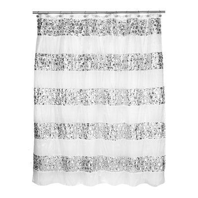 Rivet Striped Shower Curtain Color: White