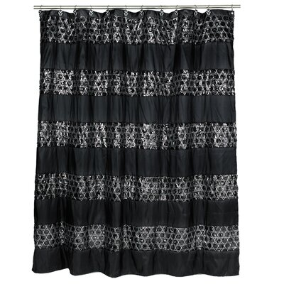 Rivet Striped Shower Curtain Color: Black