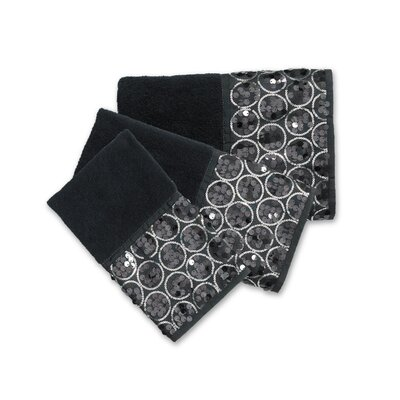 Rivet 3 Piece Towel Set Color: Black