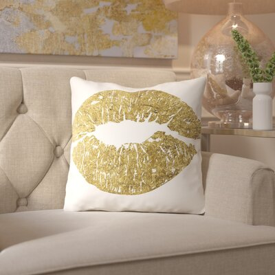 Peach & Golden Lips Throw Pillow Size: 18 H x 18 W x 2 D