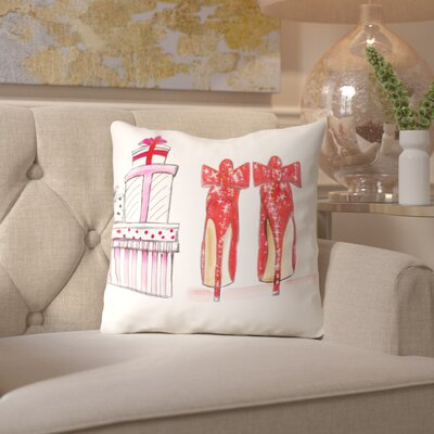 Alison B Xmas Red Shoe Gifts Throw Pillow Size: 18 H x 18 W x 2 D
