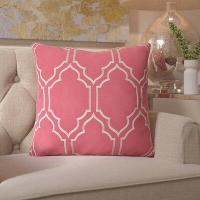 Honiton Linen Throw Pillow Size: 18 H x 18 W x 4 D, Color: Carnation