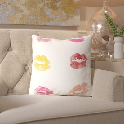 Peach & Gold Lipstick Kisses Throw Pillow Size: 16 H x 16 W x 2 D
