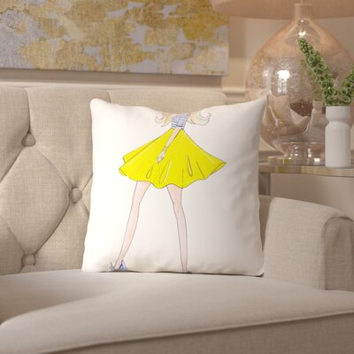 Alison B Yellow Skirt Throw Pillow Size: 16 H x 16 W x 2 D