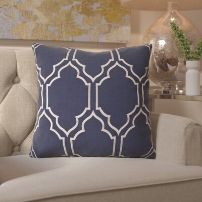 Honiton Linen Throw Pillow Size: 18 H x 18 W x 4 D, Color: Navy