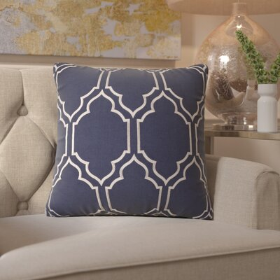 Honiton Linen Throw Pillow Size: 22 H x 22 W x 4 D, Color: Navy
