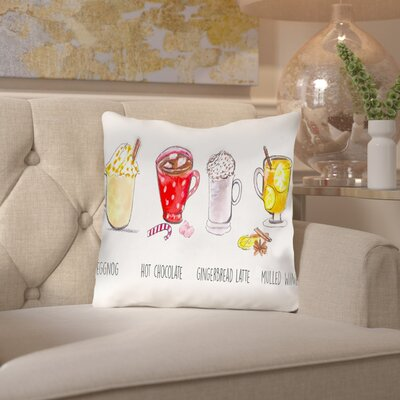 Alison B Xmas Drinks Throw Pillow Size: 16 H x 16 W x 2 D