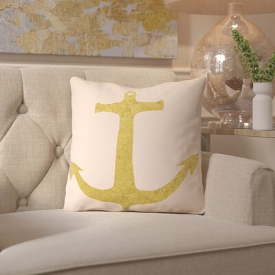 Peach & Gold Anchor Throw Pillow Size: 18 H x 18 W x 2 D
