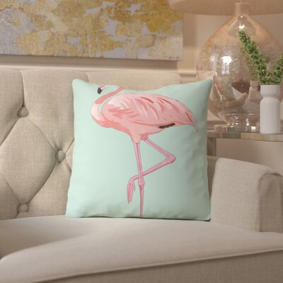 Peach & Gold Pink Flamingo Throw Pillow Size: 16 H x 16 W x 2 D