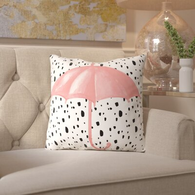 Peach & Gold Pink Umbrella on Polka Dots Throw Pillow Size: 18 H x 18 W x 2 D