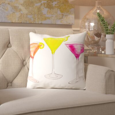 Alison B 3 Cocktail Glasses Throw Pillow Size: 18 H x 18 W x 2 D