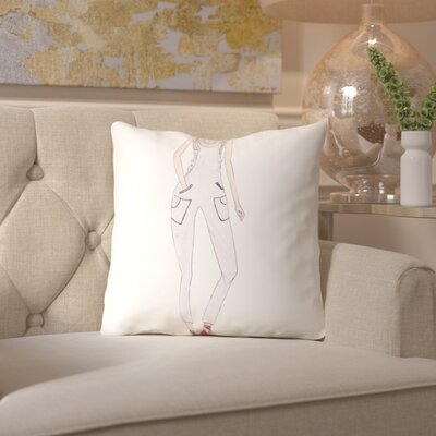 Alison B Dungarees White Throw Pillow Size: 18 H x 18 W x 2 D