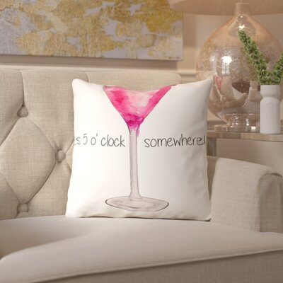 Alison B Pink Cocktail Throw Pillow Size: 18 H x 18 W x 2 D