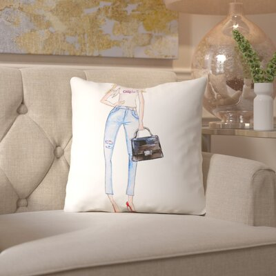 Alison B Celfie Print Throw Pillow Size: 18 H x 18 W x 2 D