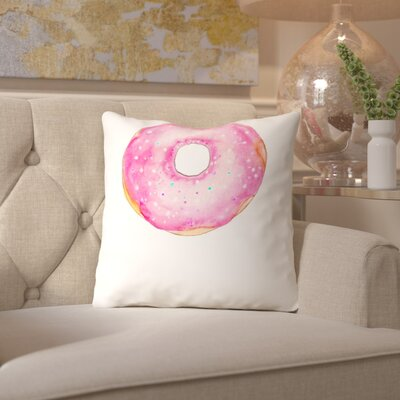 Alison B Doughnut Throw Pillow Size: 18 H x 18 W x 2 D, Color: Pink