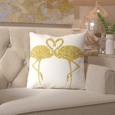 Peach & Gold Flamingos Throw Pillow Size: 16 H x 16 W x 2 D