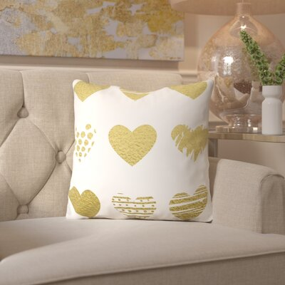 Peach & Gold Hearts Throw Pillow Size: 16 H x 16 W x 2 D