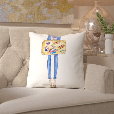 Alison B Travel Suitcase Stickers Throw Pillow Size: 18 H x 18 W x 2 D
