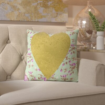 Peach & Gold Heart on Floral Throw Pillow Size: 16 H x 16 W x 2 D, Color: Mint