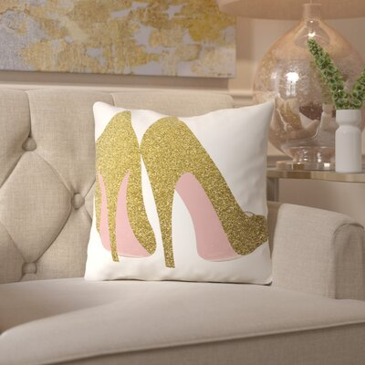 Peach & Gold Shoes Throw Pillow Size: 16 H x 16 W x 2 D