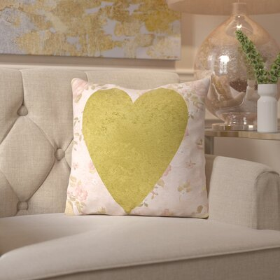 Peach & Gold Heart on Floral Throw Pillow Size: 16
