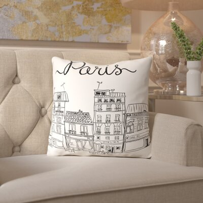 Peach & Gold Paris Throw Pillow Size: 16 H x 16 W x 2 D, Color: White
