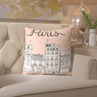 Peach & Gold Paris Throw Pillow Size: 16 H x 16 W x 2 D, Color: Pink