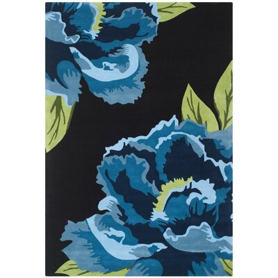 Celestine Hand-Tufted Black/Blue Area Rug Rug Size: Rectangle 4 x 6