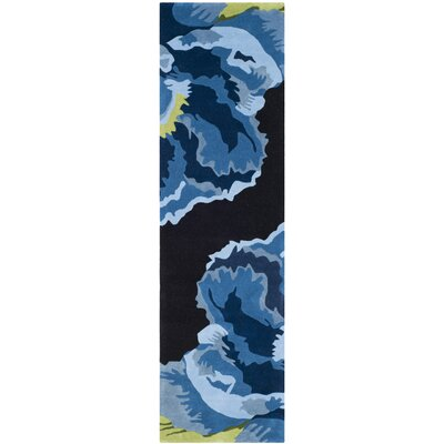 Celestine Hand-Tufted Black/Blue Area Rug Rug Size: Runner 23 x 8