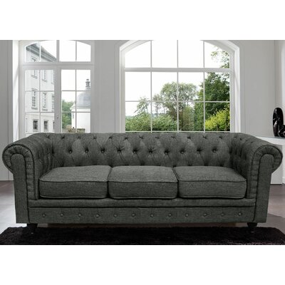Elstone Classic Scroll Arm Tufted Chesterfield Sofa Color: Ash