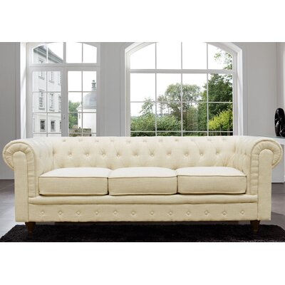 Adaline Classic Scroll Arm Tufted Sofa Color: Beige
