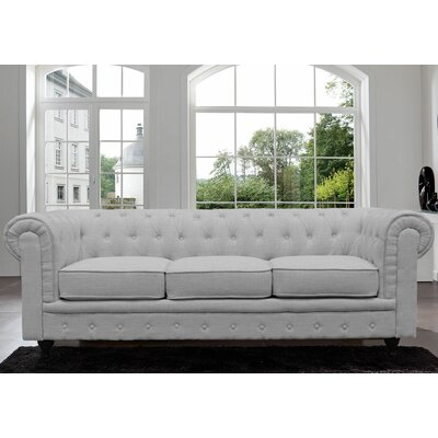 Elstone Classic Scroll Arm Tufted Chesterfield Sofa Color: Light Gray