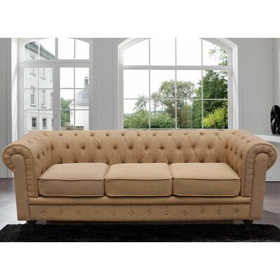 Elstone Classic Scroll Arm Tufted Chesterfield Sofa Color: Rust
