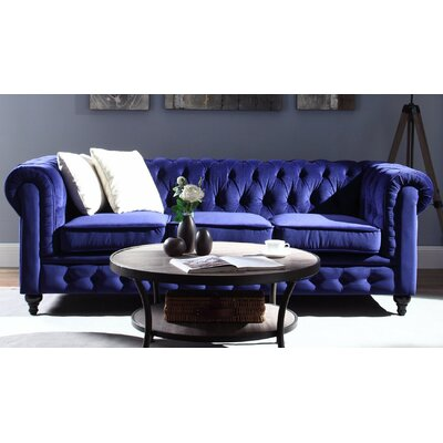 Elstone Chesterfield Sofa Upholstery: Blue, Finish: Black
